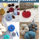 collage of four images of crocheted pumpkins on a blue background with white text