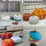 collage of four images of crocheted pumpkins on a grey background with white text