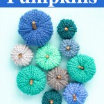 group of 10 blue and grey double twist pumpkins on a light blue background
