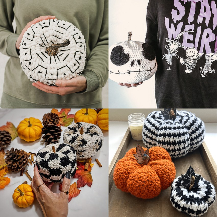 collage of four images of black and white crocheted pumpkins