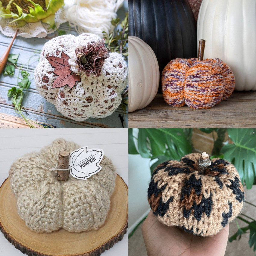 collage of four images of neutral colored crochet pumpkins