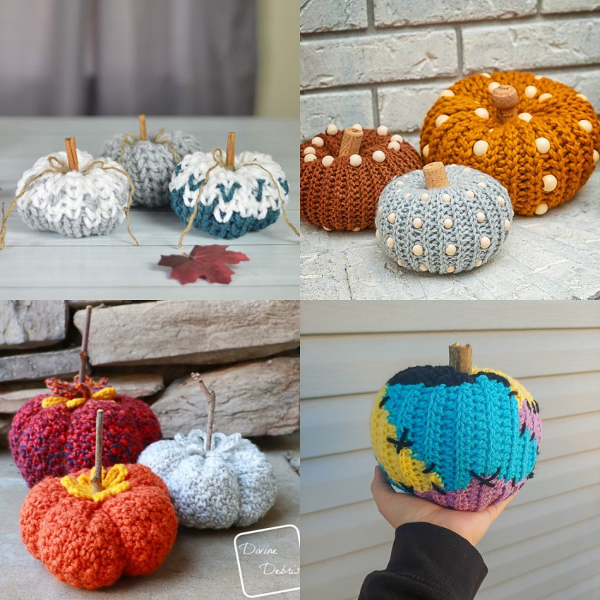 collage of four images of colorful crocheted pumpkins