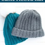 """grey and teal crocheted beanies with text, """"how to crochet basic ribbed hat - beginner crochet pattern from: you should craft"""""""