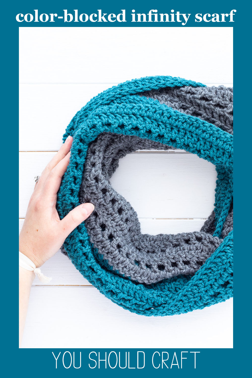 """teal and dark grey crocheted scarf with the text """"color-blocked infinity scarf - you should craft"""""""