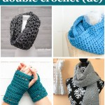 collage of four crocheted items with text: beginner-friendly double crochet (dc) - 16 free patterns curated by you should craft""