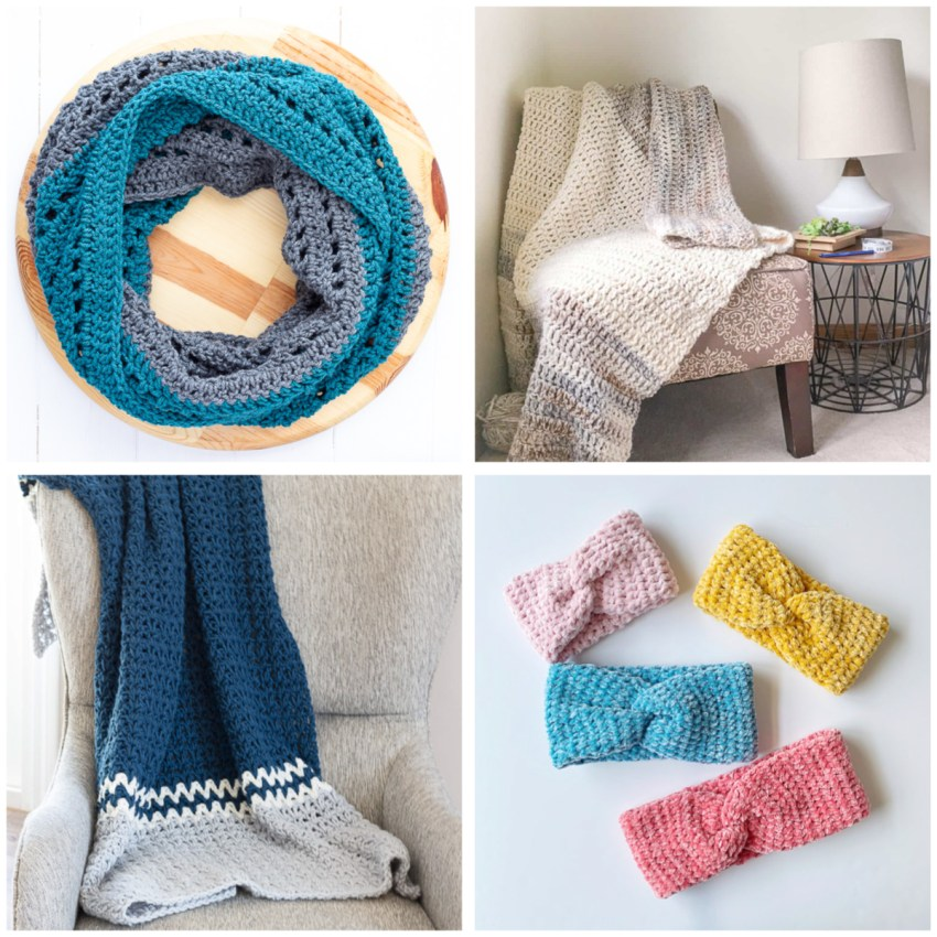 collage of four images of crocheted items featuring the double crochet stitch