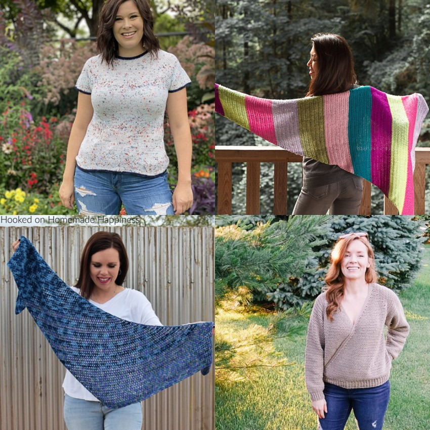four images of crocheted shawls and shirts