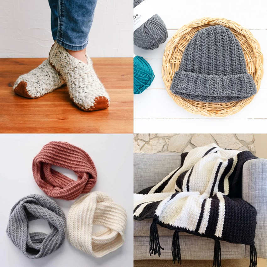 collage image depicting four different free patterns that can be made with half double crochet stitches