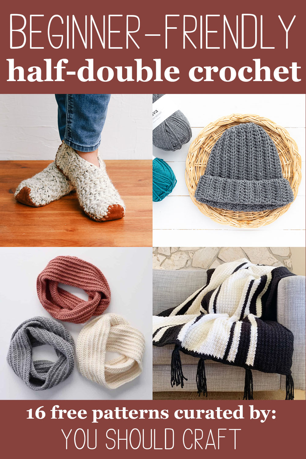 "four images of crocheted items with text ""beginner-friendly half-double crochet - 16 free patterns curated by you should craft"""
