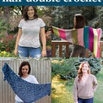 "four images of crocheted shawls and shirts with text ""beginner friendly half double crochet - 16 free patterns curated by you should craft"""