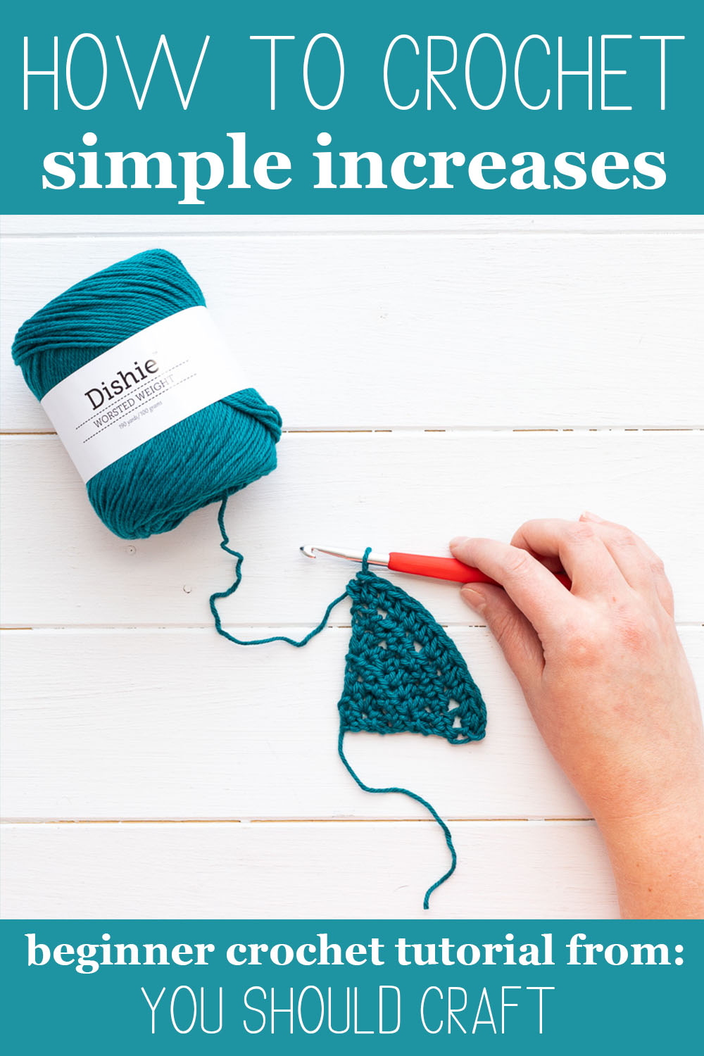 "skein of dishie cotton yarn on a white wooden background with a small triangular swatch and a hand with a hook and text ""how to crochet simple increases - beginner crochet tutorial from: you should craft"""