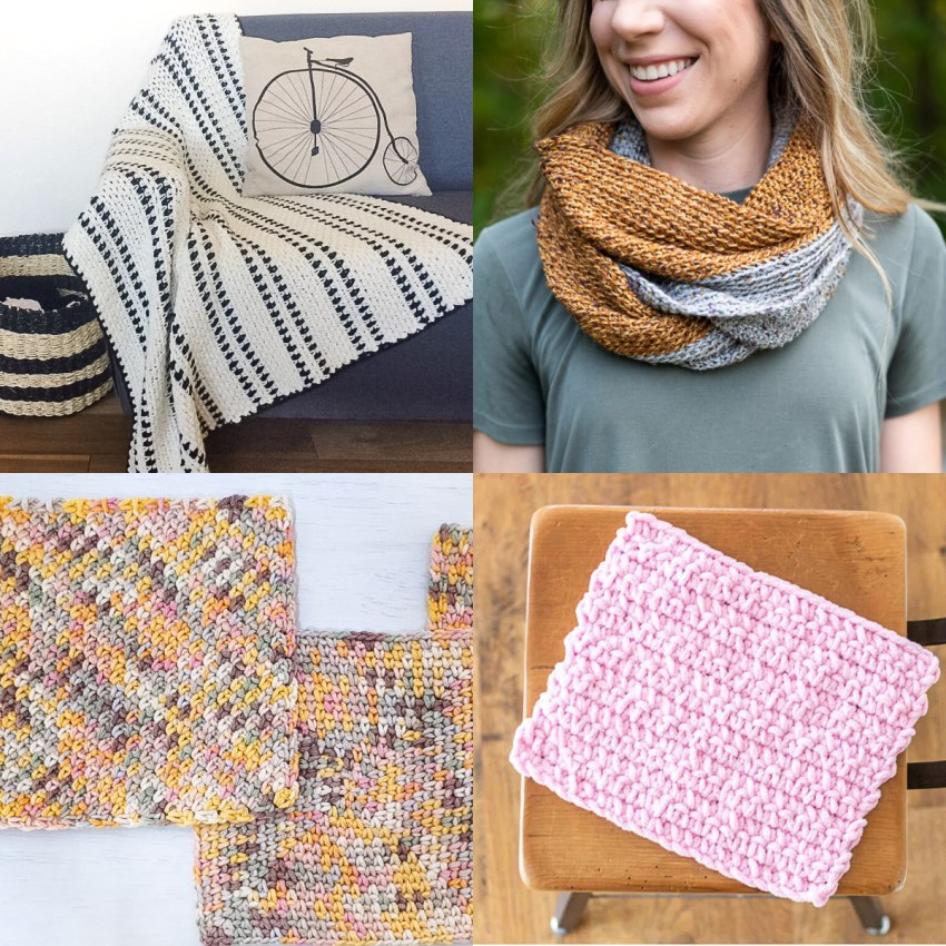 collage of four images of crocheted items that utilize single crochet stitches