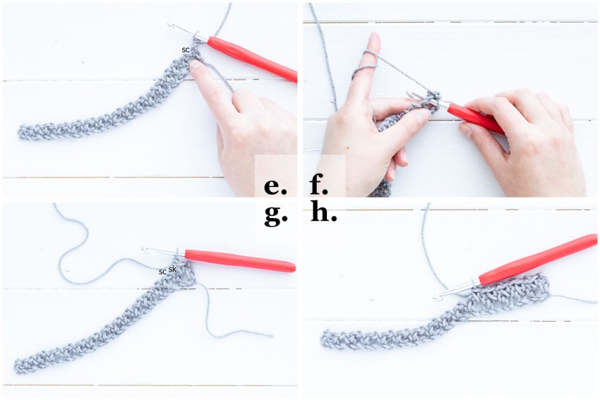 step-by-step image demonstrating row 2 of how to crochet the linen stitch
