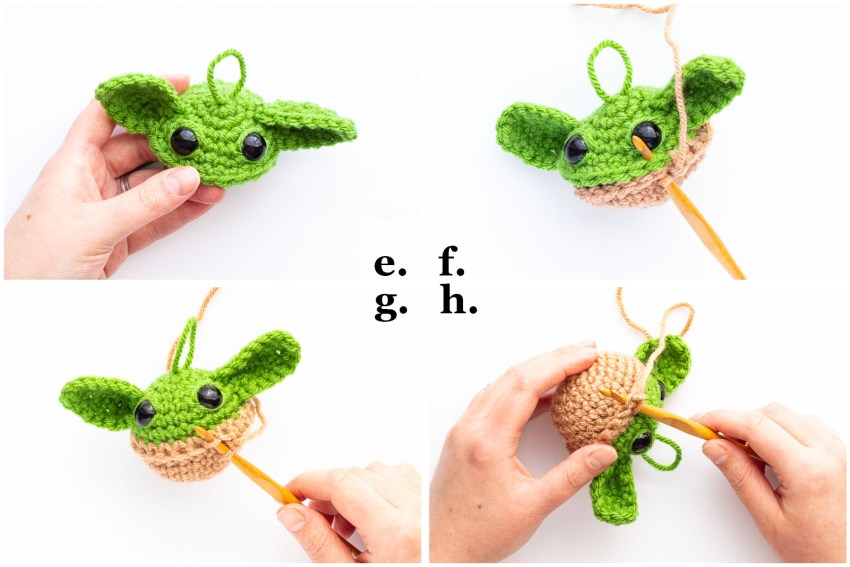 collage image demonstrating how to join the top and bottom of the baby yoda ball ornament