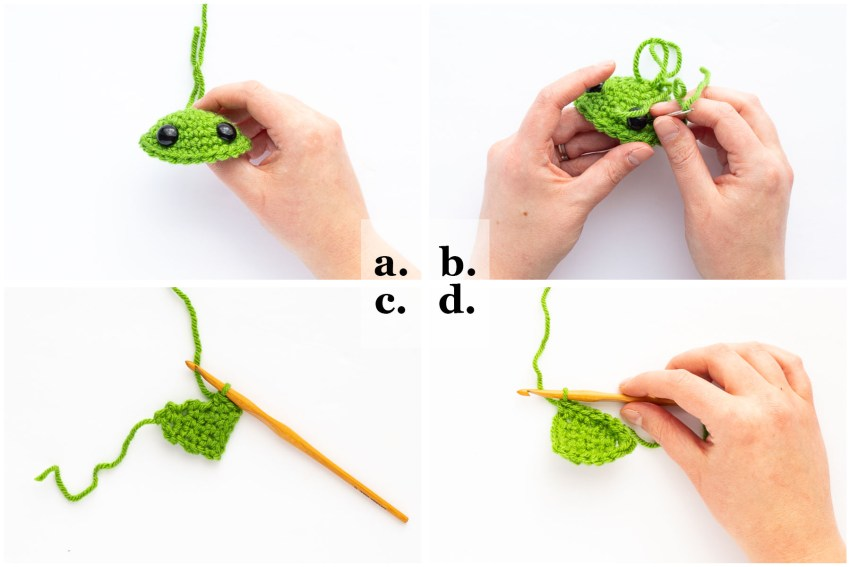 step by step collage demonstrating how to crochet the ears and insert eyes on the baby yoda ball ornament