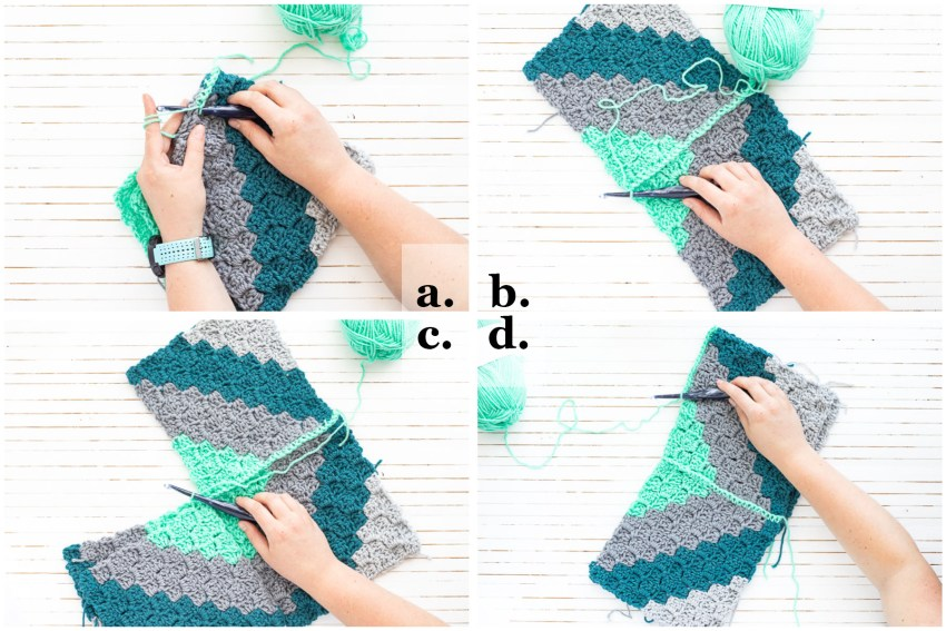 step-by-step collage demonstrating how to join the crochet pillow squares