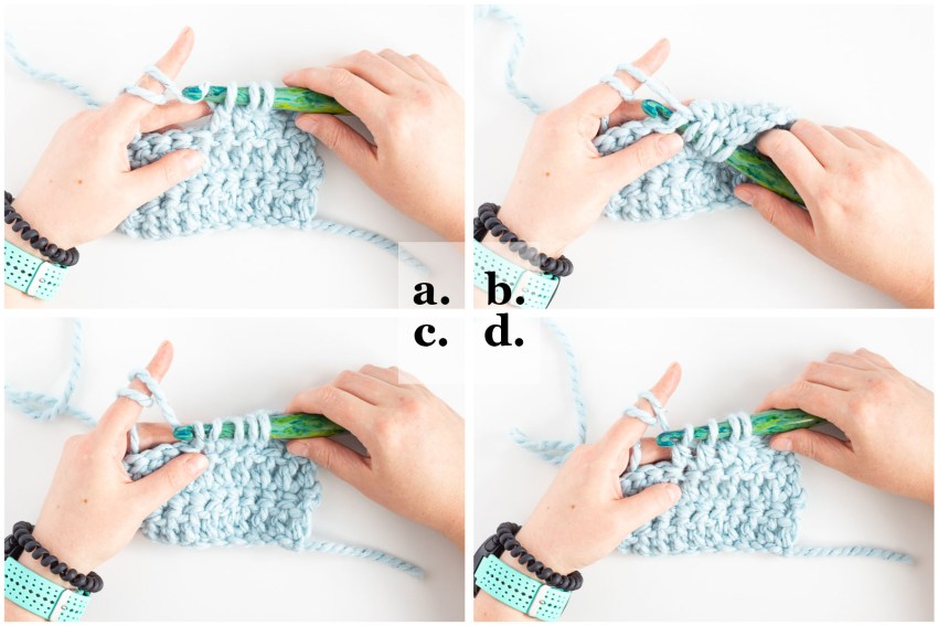 hands crocheting the dc3tog stitch, step-by-step