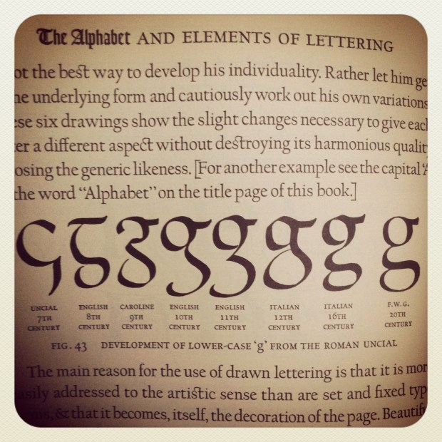 Goudy's history of the development of the lowercase 'g'