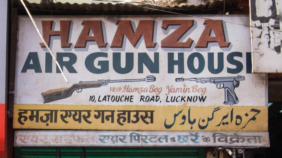 Lucknow Gun Shop Signs
