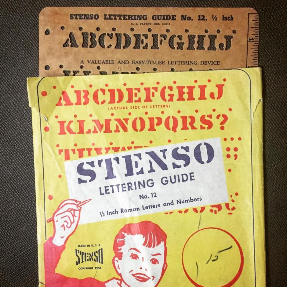 Late 1940s or early 1950s Stenso Lettering Guide...
