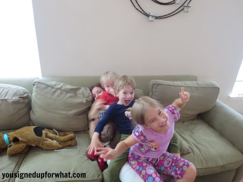Working mom with 3 kids after work