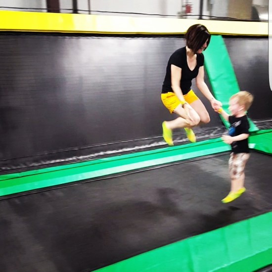 Jumping at the trampoline park with kids