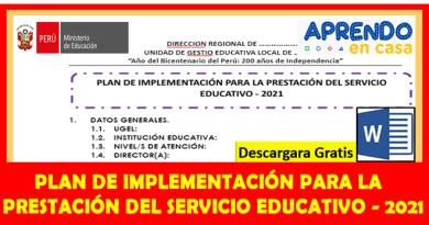 ✅[Ministerio de Educación del Perú] Plan de retorno a clases semipresenciales 2021