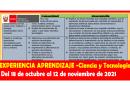 ✅✅EXPERIENCIA APRENDIZAJE -Ciencia y Tecnología Del 18 de octubre al 12 de noviembre de 2021