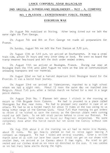 mclachlan WW1 story diary