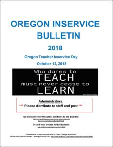 Oregon educator and teacher inservice with college credit