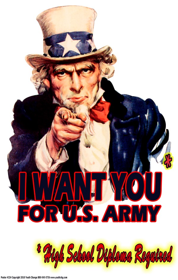 Motivational classroom military poster Uncle Sam