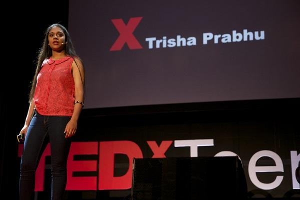 Trisha Prabhu speaking at TEDxTeen