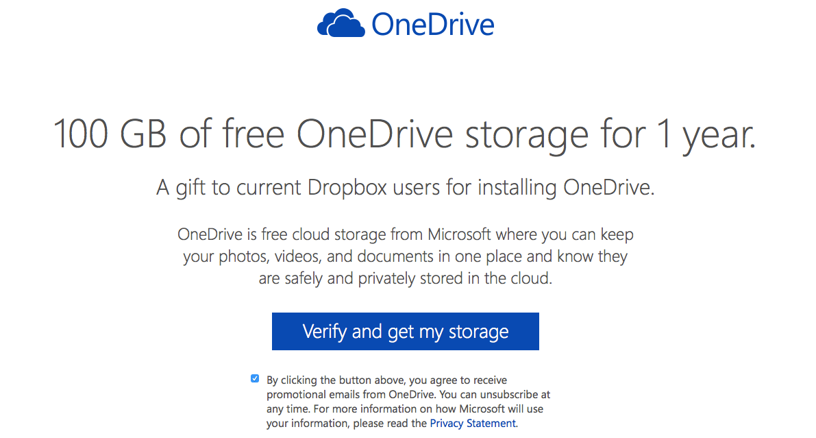 onedrive 100gb of storage for a year for free