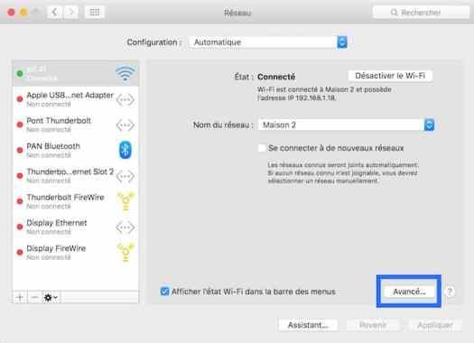 2Définissez les réseaux Wifi prioritaires sur votre Mac