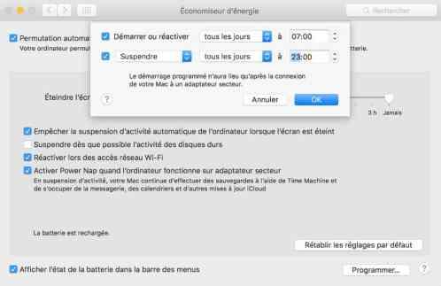 Programmez votre Mac pour qu'il s'allume et qu'il s'éteigne automatiquement3