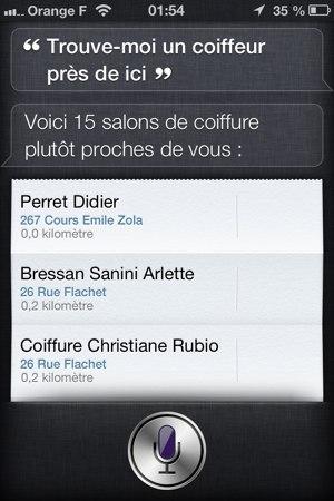 Recherche d'un coiffeur avec Siri