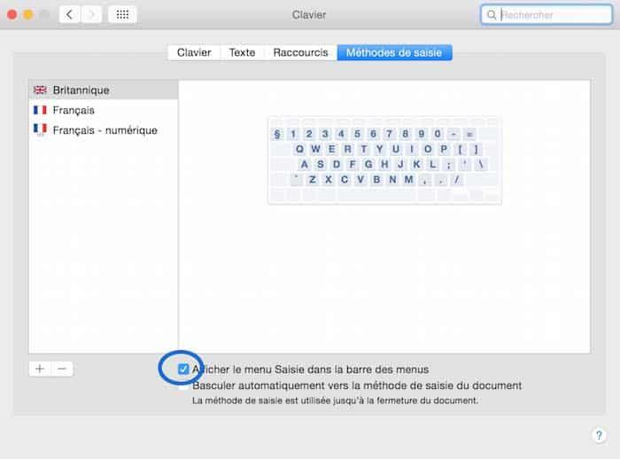 Raccourci pour changer la langue du clavier du Mac2