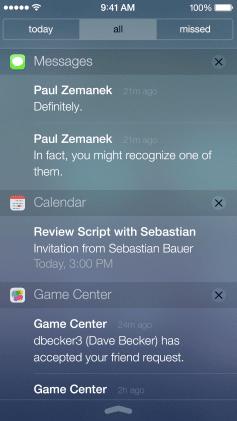iOS 7 notification center