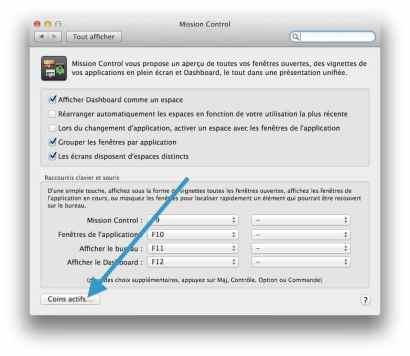 Mission Control définissez des fonctions sur les 4 coins de l'écran de votre Mac 2
