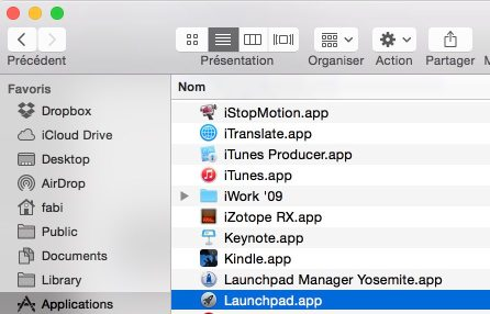Launchpad OS X dossier application