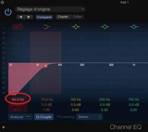 réinitialiser un paramètre en un clic de souris sur logic pro
