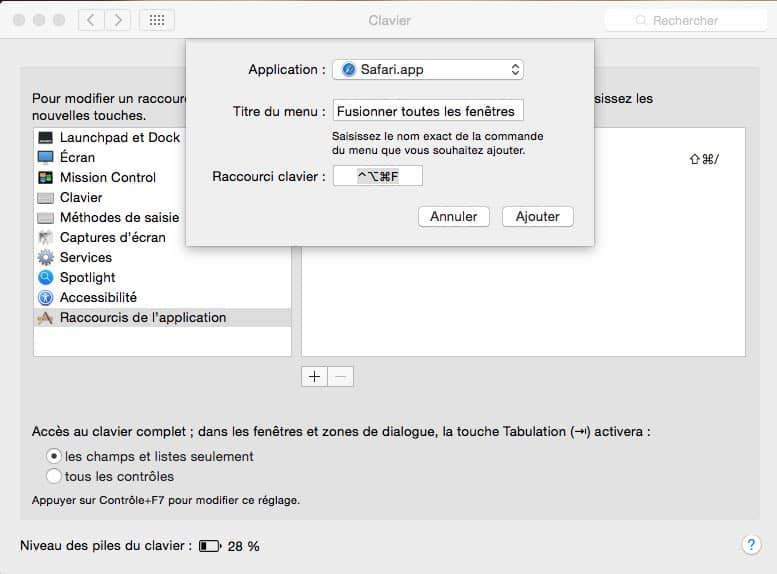 Ajouter un raccourci clavier personnalisé4
