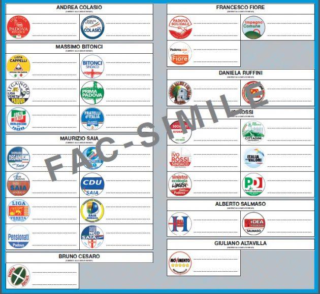 FAC-simile della scheda elettorale per il Comune di Padova (2014)