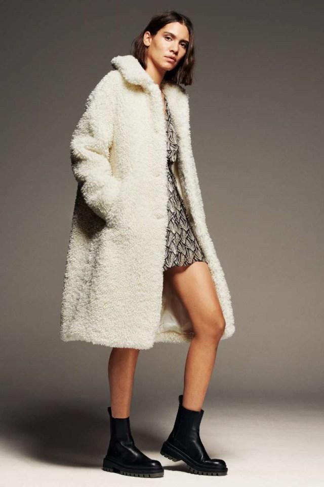 Zara μπουφάν με συνθετική γούνα