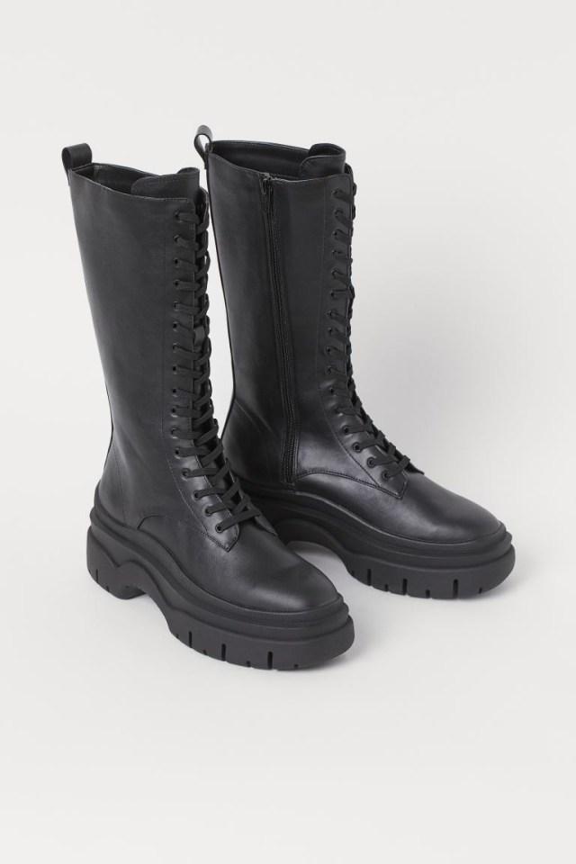 H&M δερμάτινες μπότες