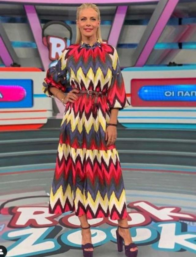 Ζέτα Μακρυπούλια εμφάνιση Ρουκ Ζουκ ΑΝΤ1 φόρεμα
