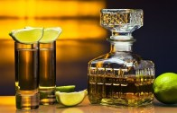 15872393 – gold tequila and lime on a glass table.