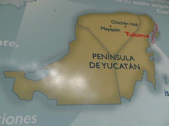 Carte de la péninsule du Yucatan pour expliquer ou se trouve Tulum photo blog voyage tour du monde https://yoytourdumonde.fr