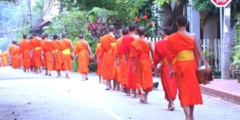 Cérémonie de l'aumone à Luang Prabang au Laos photo blog voyage tour du monde http://yoytourdumonde.fr