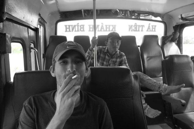 Bus dans le delta du mekong en direction de kep au cambodge